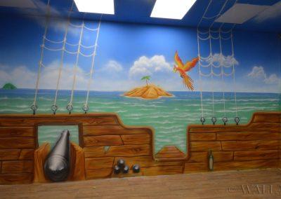 malunki na ścianie - malowidło statek i morze