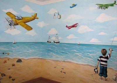 wykonane malowidło ścienne - plaża i chłopiec