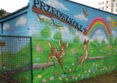 pomalowany murek - przedszkole Warszawa