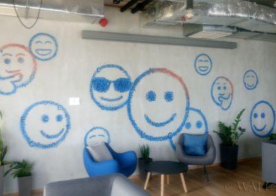 malowidło na ścianie w biurze