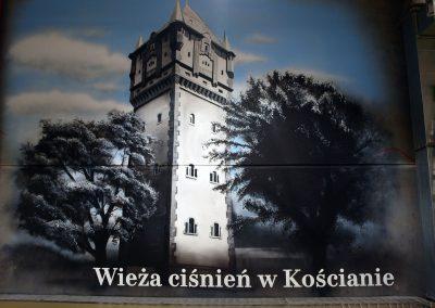 wykonane malowidło - wieża ciśnień w Kościanie