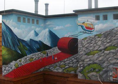wykonane malowidło na ścianie na tarasie dachowym - obraz anamorficzny
