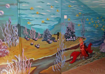 malunki na ścianach sala zabaw - podwodny świat