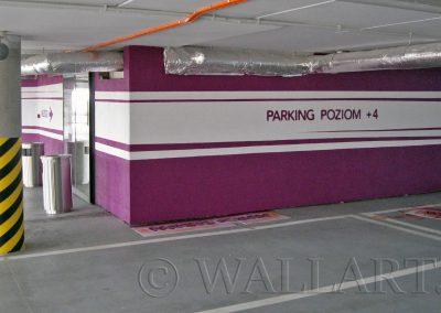 oznakowanie parkingu - wzory graficzne na ścianach