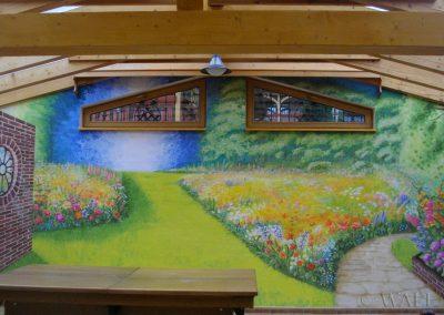 pomalowana ściana - obraz ogród w pokoju