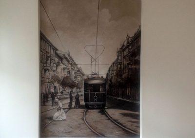 malowidło ścienne w pokoju - stara Warszawa
