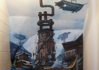 wykonane malowidło - krajobraz Fallout - obraz na ścianie w łazience