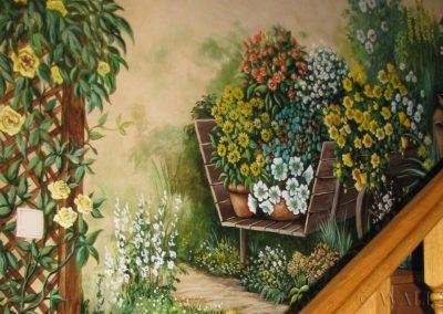 malowidło ścienne - kwiaty