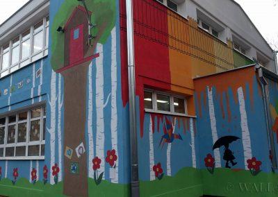 pomalowane ściany - mural na ścianie przedszkola