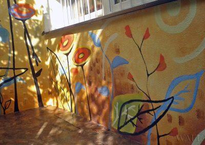 abstrakcyjne malowidło ścienne