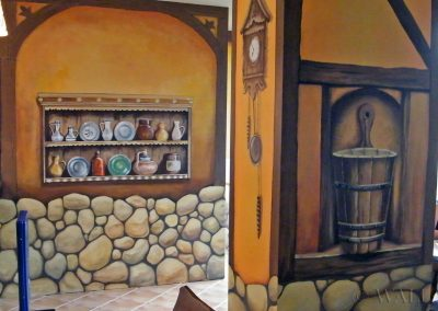 malowidło ścienne - dekoracje, kamienie, półki