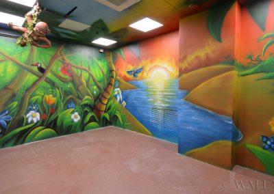malunki na ścianie - malowidło rzeka i zachód słońca
