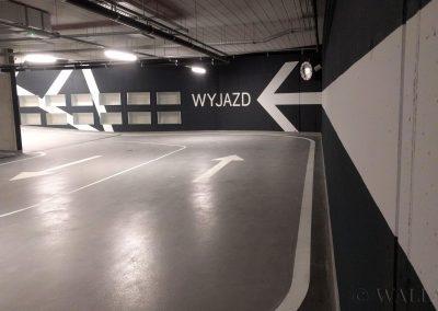 pomalowane ściany - parking Tetrium w Krakowie