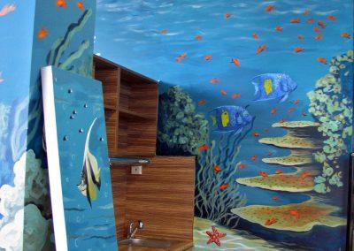 malowidło ścienne - rafa, ryby