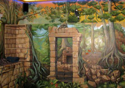 malowidło ścienne - piękny obraz ruiny i dżungla