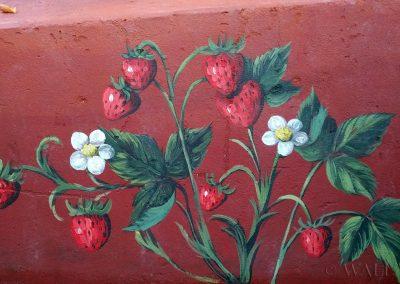 pomalowany murek - truskawki