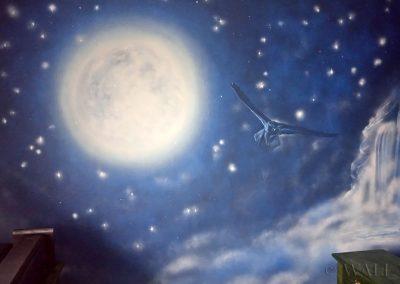 malowidło w pokoju - księżyc, noc, niebo