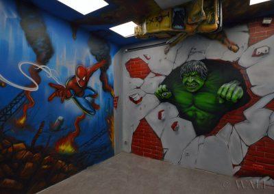 malunki na ścianie - malowidło Avengers, Spiderman