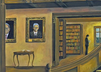 fragment mniejszej ściany muralu - Biblioteka w Ustroniu