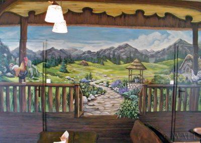 malowidło ścienne w restauracji - pejzaż