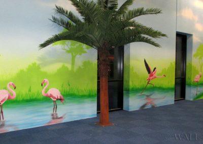 malowidła ścienne - flamingi