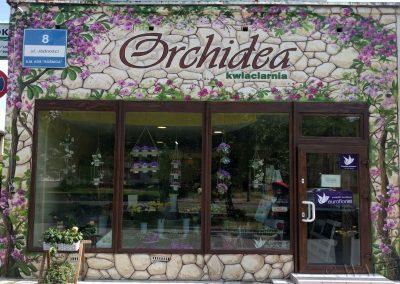malowidło ścienne elewacja - kwiaciarnia Orchidea Gliwice
