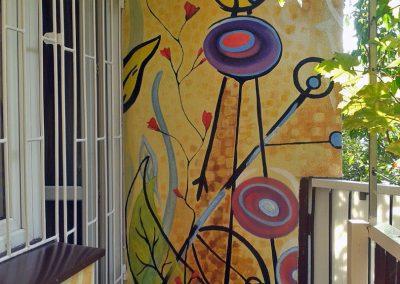 malowidło ścienne na balkonie - obraz abstrakcyjny