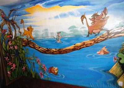 malowidło na ścianie - król lew