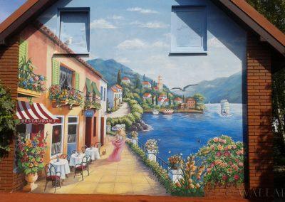 malowidło ścienne w ogrodzie - krajobraz śródziemnomorski, miasteczko, uliczka, morze