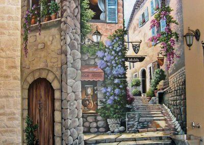 malowidło ścienne w restauracji włoskiej - miasteczko włoskie
