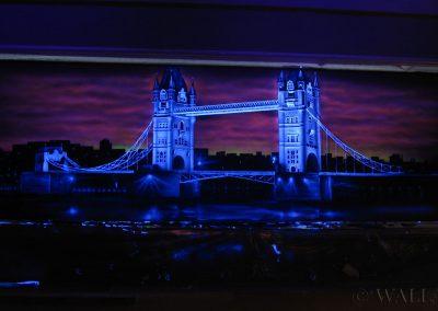 malowidło ścienne fluorescencyjne UV - Londyn - Tower Bridge - klub nocny Toruń