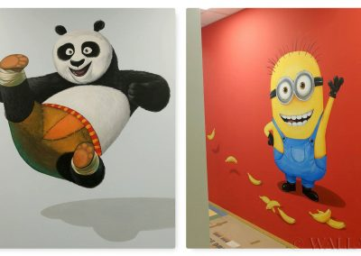 malowidło w przedszkolu - minionek i panda