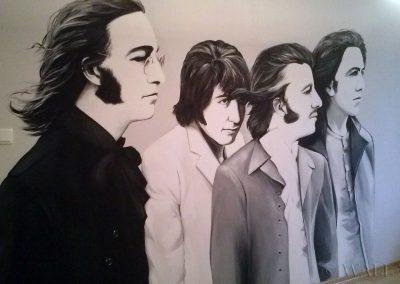 malowidło ścienne w pokoju - Beattles