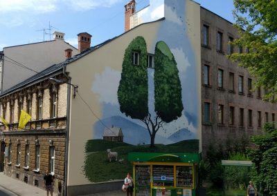 wykonany mural na kamienicy - zielone płuca - Bielsko Biała