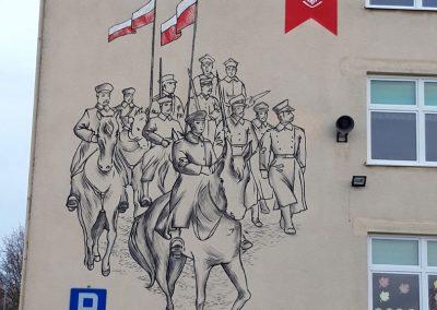 wykonany mural patriotyczny na ścianie szkoły podstawowej im. Powstańców Wielkopolskich w Dusznikach