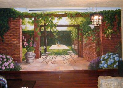 wykonane malowidło ścienne przedstawiające ogród w restauracji, Warszawa