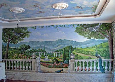 wykonane malowidło ścienne w salonie