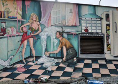 wykonane malowidło ścienne - sklep z meblami