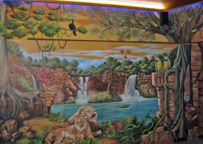 malowidło ścienne - wodospady, lew