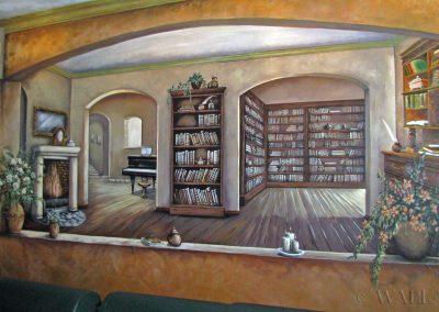 obraz ścienny - namalowana biblioteka na ścianie