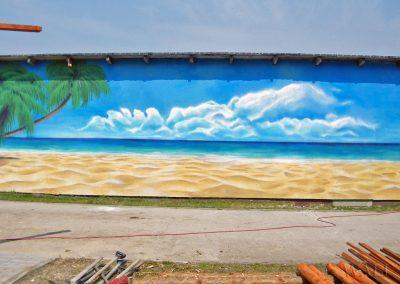 malowidło na elewacji - namalowana plaża
