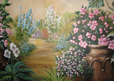 namalowane kwiaty na ścianie