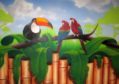 malowidło ścienne - papugi