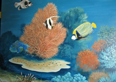 malowidło ścienne - namalowane ryby