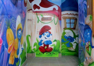 malowidło ścienne - Smurfy  - salka urodzinowa