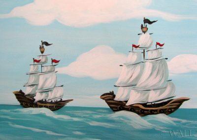 zbliżenie - namalowane statki