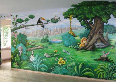 malowidło ścienne w przedszkolu - zwierzęta