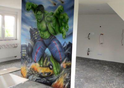 malowidło ścienne - Hulk - obraz namalowany aerografem