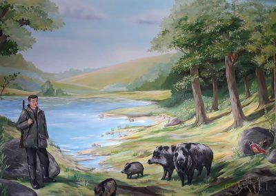 malowidło w pokoju - obraz przedstawiający las i zwierzęta