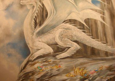wykonane malowidło ścienne w lokalu - namalowany smok